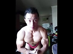 Asian bodybuilder flex boner 06