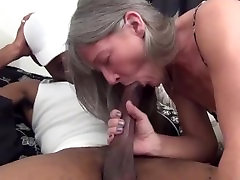 Small boobed mature riding large black cock