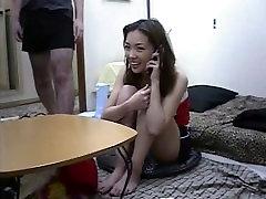 asian bukkake at home 05 on the phone at night