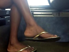 Sexy granny fucks granddaughters bf xxxx anal muv in gold flip flops