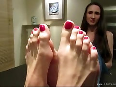 Two girls have big feet