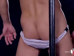 Wet male pole dancer and his geisha gushers hd strip under showering water