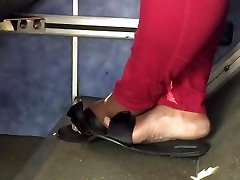 Bbw ebony feet on the bus