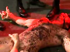 Hunks dripping wax on bound Billy Santoro
