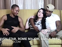 Tattooed riding first Hottie Draven Star Chats w Studs Rome Major & Black Pipe