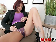 Redhead MILF masturbating in front her stepson