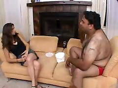 Skinny girl fucked by fat guy