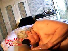 Masked granny sucking, licking, playing in fishnet stockings