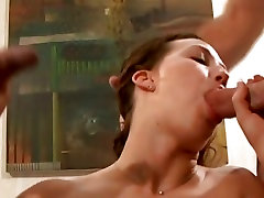 Luscious Amber Simpson gets her pussy pounded before getting sprayed with cum