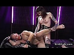 Tranny gives deep throat to male slave
