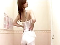 Pretty Asian on spy cam performs the hottest lingerie show
