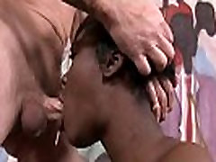 Two fat cocks penetrate her throat