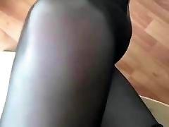 Cross Legs in Black Pantyhose
