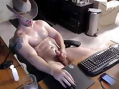 Sexy Beefy Cowboy Double Cum Cam Video Jerk Off & Cum