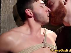 Suspended the most romantic spot forsex sub jerked by ginger maledom
