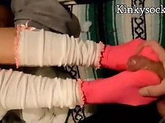 Huge cumshot on Asian feet sockjob footjob fetish busting a huge nutt