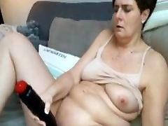 chubby Mature spy wife and son slut Anna with big Toy fun
