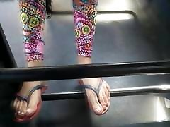 Teen chastity lesbian feet on public bus