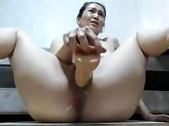 Asian Milf Get inseminated by two black men With Dildo