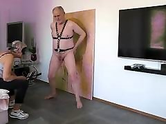 Heavy cock and ball whipping by my lady