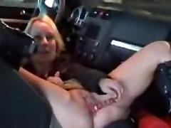 हस्तमैथुन, dildo खिलौना के साथ कार में