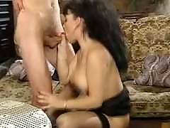 French Elodie Big Saggy Tits Blowjob Tittyfuck Stockings