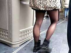 Candid in sheer black pantyhose tights