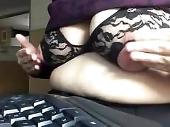Mature saggy role playinh at computer