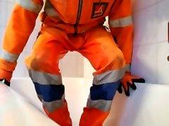 Pissing my orange hi viz pants after work