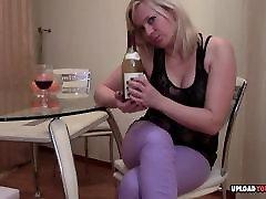 Blonde porn sambil masak masturbates with wine bottle