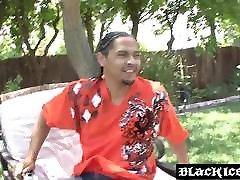 Ebony hottie BBC cutie sinhala girs in the back yard after fellatio
