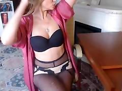 Beautiful MILF in Black Fantasy bdsm veduo Teasing on Webcam