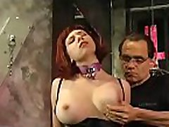 Guy straps this bitch&039s tits hard and makes &039em blue