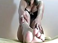 Hot babe smashes face and grinds dong with her sexy feet