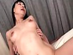 Man licks asian bushy slit before stuffing it by his cock