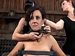 Beauty gets her nipples licked previous to painful clamping
