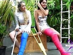 Fetish-Concept.com - 2 Girls with Long Cast Leg visit a flower store Part 1
