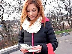 HUNT4K. Red girl likes men wearing bra for money in front of her bf