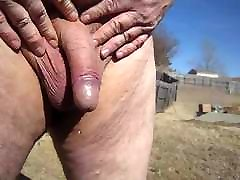 Old man cock pissing outdoors