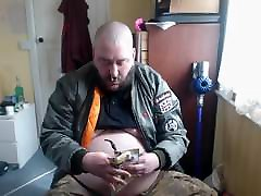 PIpe Smoking fat skinhead