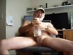 Hot silver daddy bear cum with toy