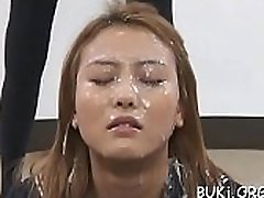 Oriental honey gives cook jerking and footjob in bukkake scenes