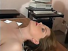 Horny older stud licks blondie&039s foot while he pounds her on his desk