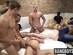 Masked pene mas studs sucking dick and spraying cum at an orgy