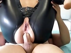 Blonde slut in hid sexy husband latex spandex catsuit fucked