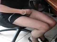 Crossdressed in new sheer black pantyhose