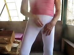 Male bitch in skin-tight leggings