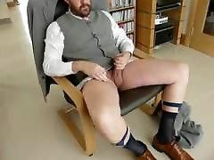 Suited dressed bear cum shot