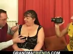 Big handjob dasi granny swallows two young cocks