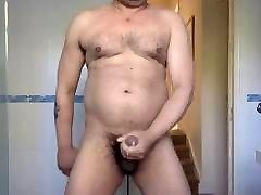 Horny bear wanking
